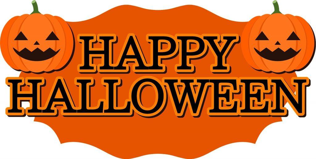 Two pumpkins wishing you a Happy Halloween