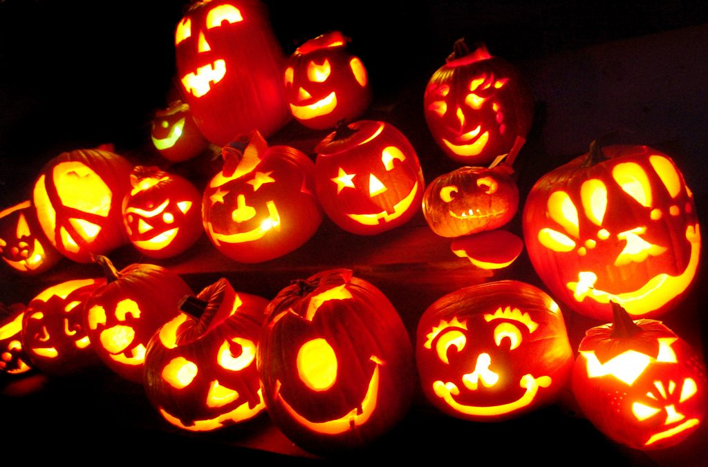 A lot of pumpkin is glowing