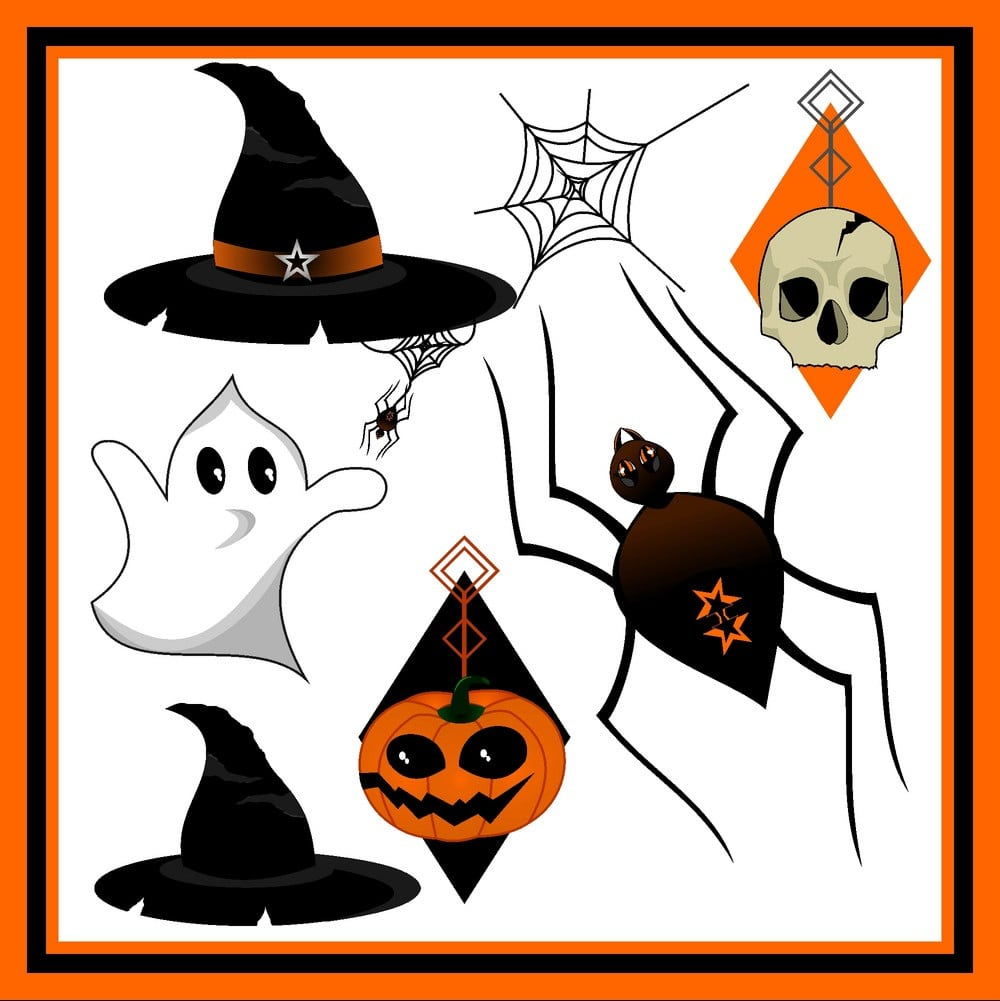 Ghost, pumpkin, spider and witch hat all are in one frame