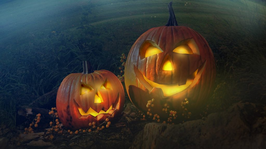 Two scary pumpkins try to scare you