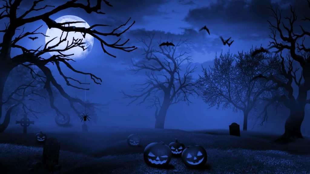 Horror scene Birds are flying in the sky, and the moon is a blue colour. A lot of pumpkins watching you.
