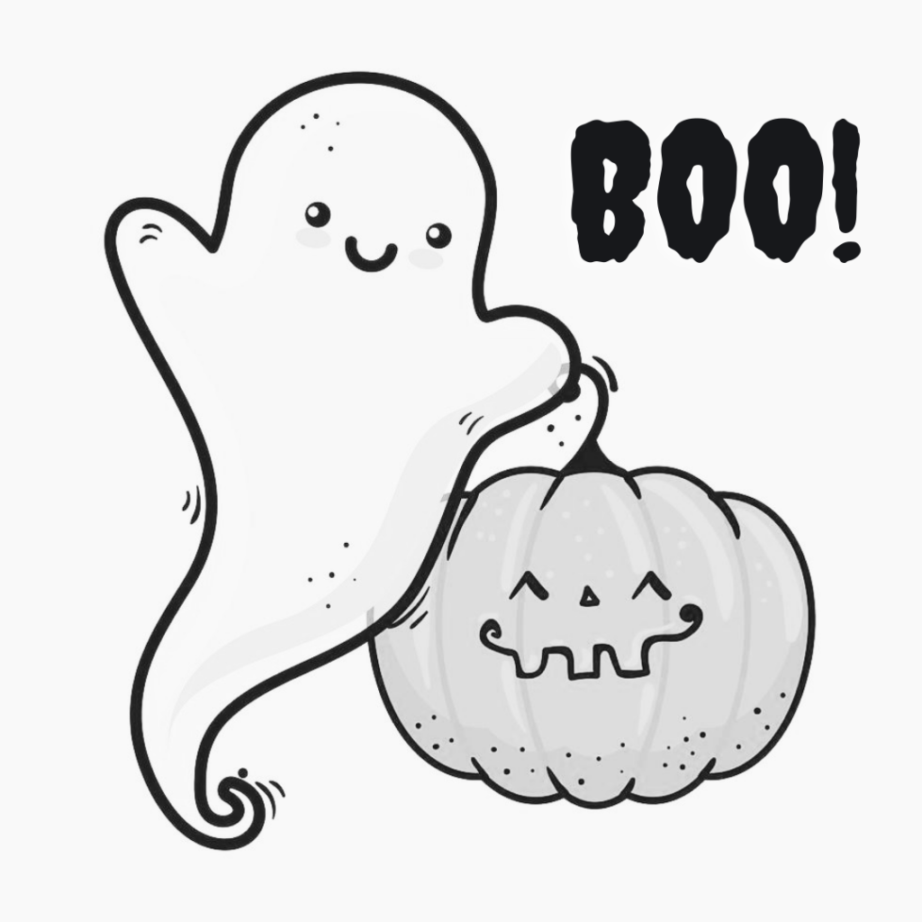 Cute ghosts are carrying a pumpkin