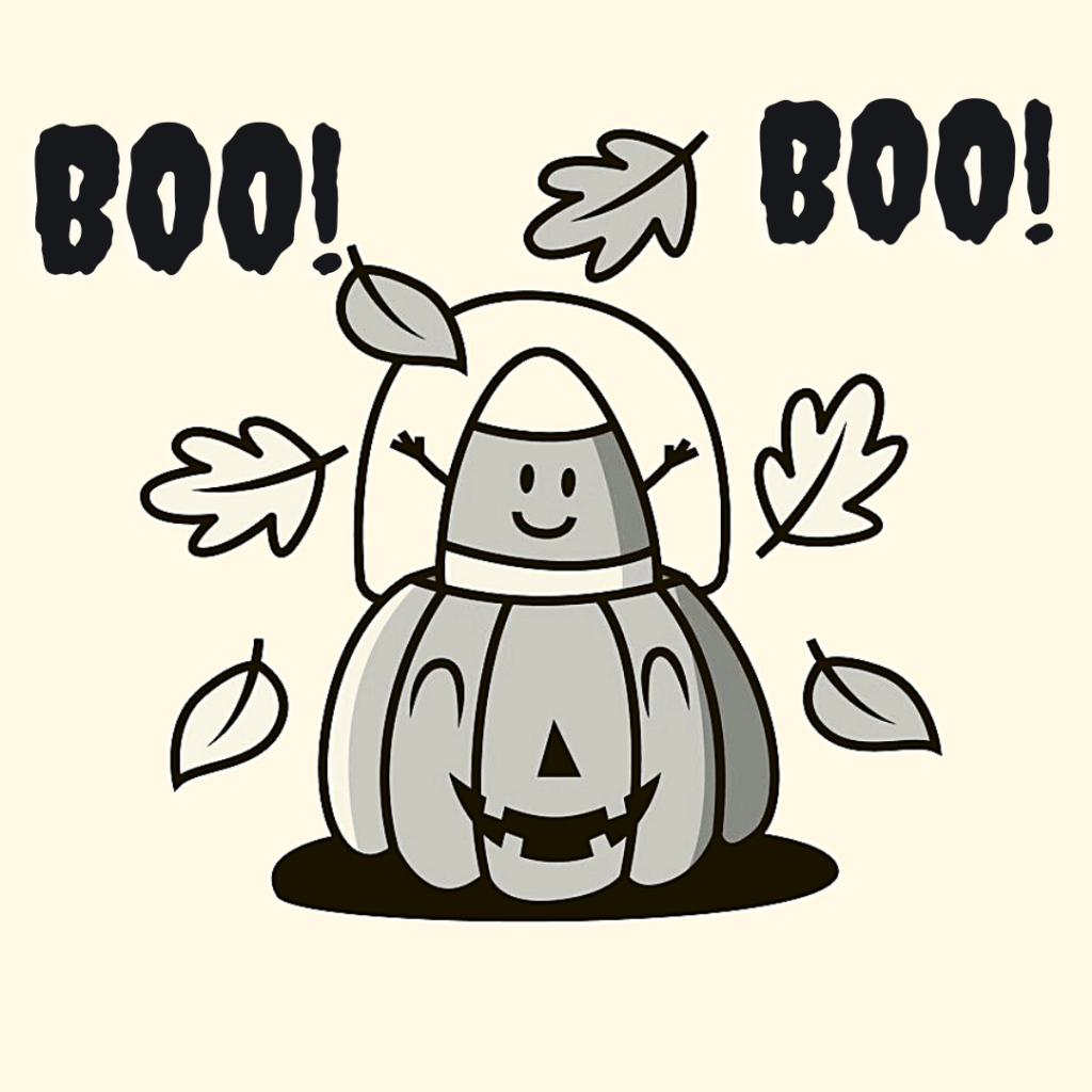 the little ghost inside for a pumpkin and leaves are flying