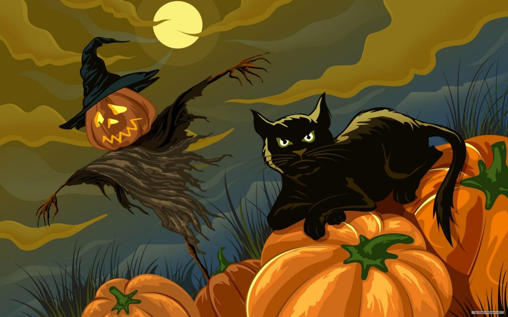 Black cat with pumpkin. the background yellow full moon