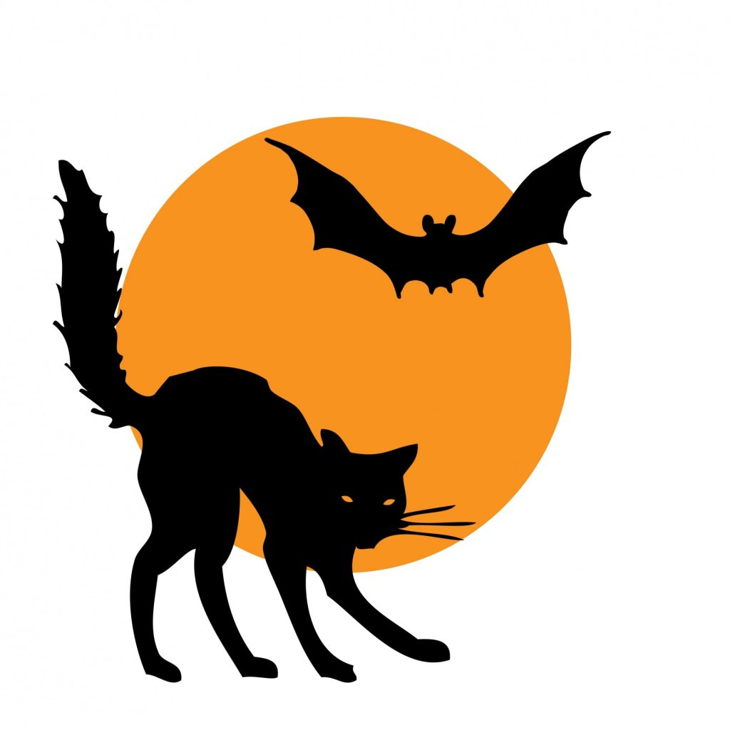 Yellow moon with scary cat and black bat
