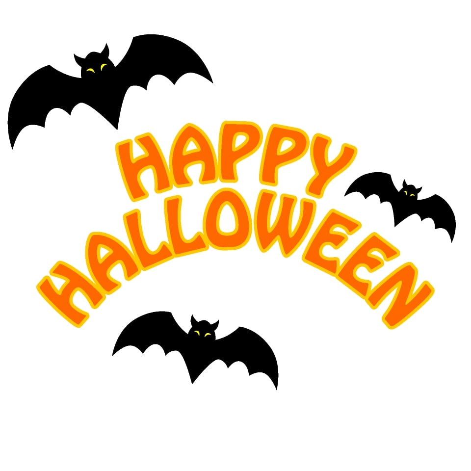 Scary bats are saying happy Halloween