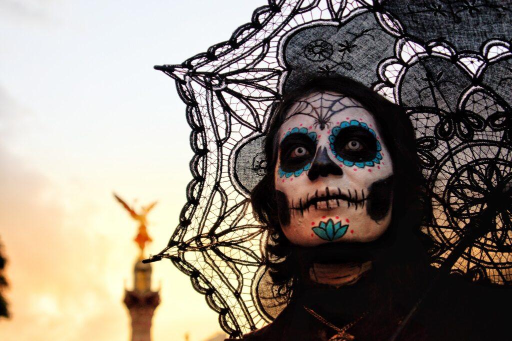 Happy Halloween Costume with white mask andambrella