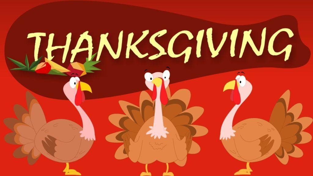 In this frame, 3 turkeys wishing you thanksgiving