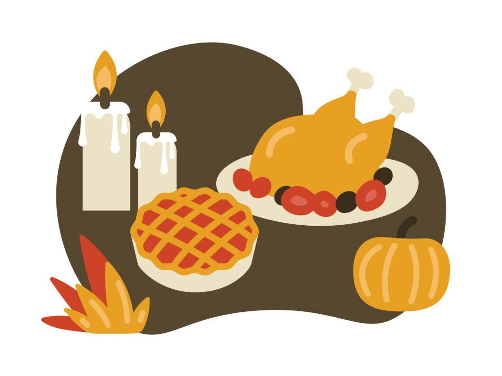 in this frame, there are a candle, cake, pumpkin, and roasted chicken