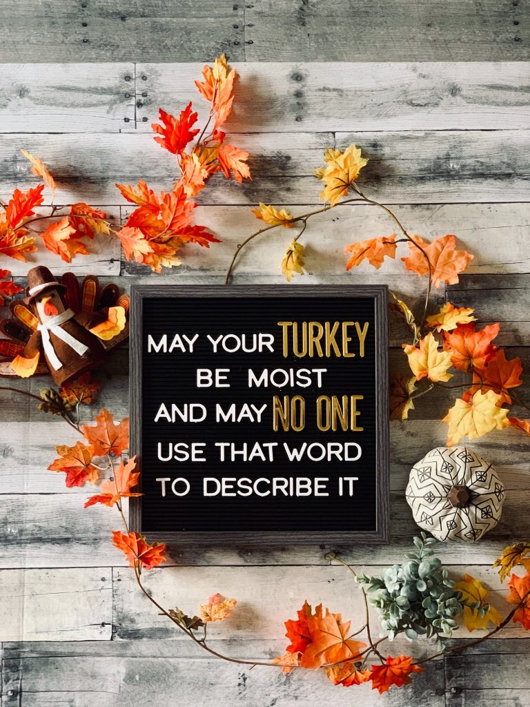 """The frame says, """"May Your Turkey Be Moist, And May No One Use That Word To Describe It."""""""
