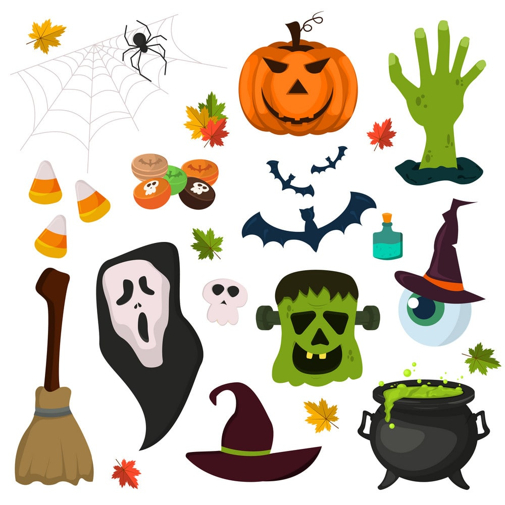 There are so many pumpkins, Bat, witches, cats, ghosts, masks, eyeballs, and spiders in this frame.