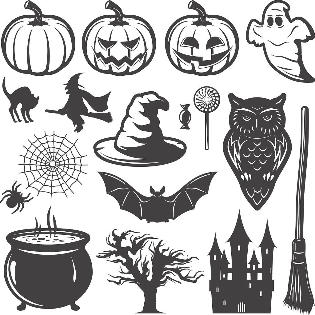 In this frame, so many pumpkins, Bat, witches, cats, ghosts, and spiders.