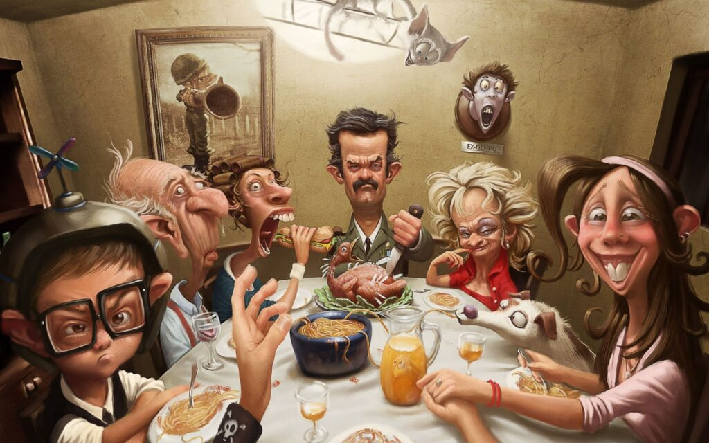 In This frame, the family eat turkey