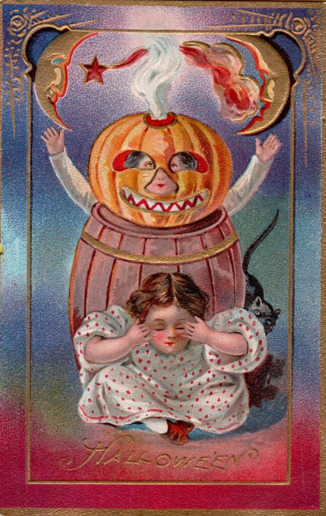 Little girl wearing pumpkin dress and try to scare