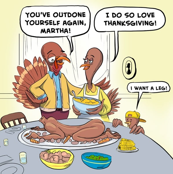 In this Frame, turkey family eat chicken